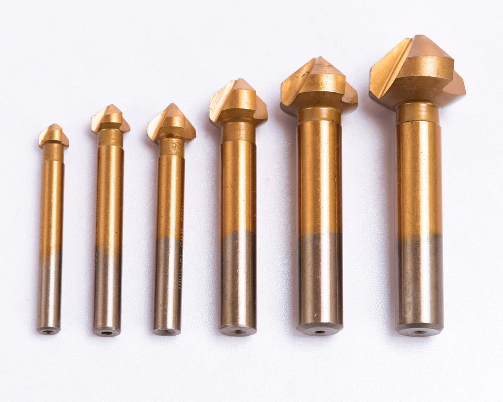 Titanium Coated 6pcs/set 90 Degree 3 flute Chamfering Edge Mill Cutter Wood Countersink Drill Drilling Bits High Speed Steel 3pcs 12 16 19mm countersink drill bits carbon steel chamfering drill bit 90 degree round 1 4 shank cutter drill bits for wood