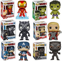Funko POP Marvel Avengers Hulk Thor Iron Man Captain America Black Panther Vinyl Action Figure Model Mainan untuk Anak hadiah(China)