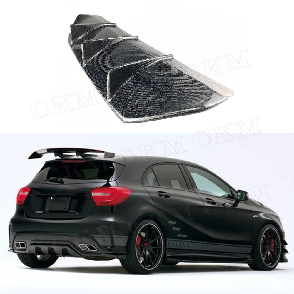 A Class Car Racing Carbon Fiber Rear Bumper Diffuser Lip Spoiler For Mercedes Benz W176 A200 A250 A45 AMG 2014-2017 V Style