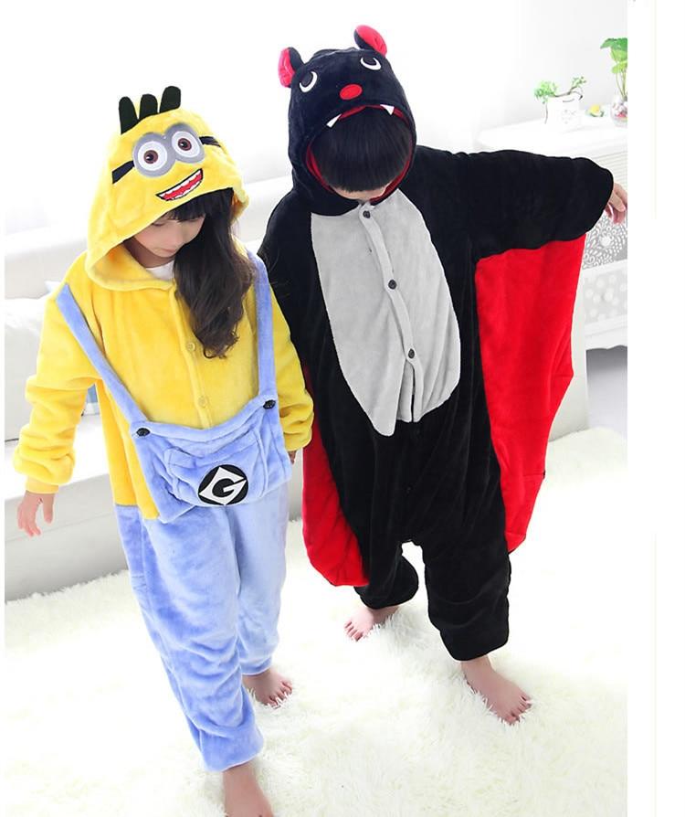 Despicable Me Minion Cosplay Jumpsuit Bat Kostýmy pro děti Děti Onesie pyžama Oblečení pro Halloween karneval