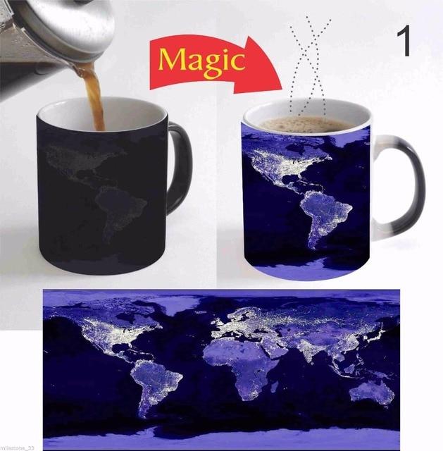 World Map Mugs Heat Changing Color Coffee Mug Heat Transfer Ceramic