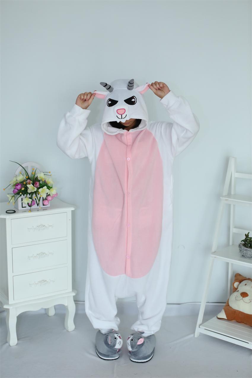 Rajzfilm felnőtt unisex kecske onesies pizsama gyapjú juh pizsama - Jelmezek - Fénykép 2