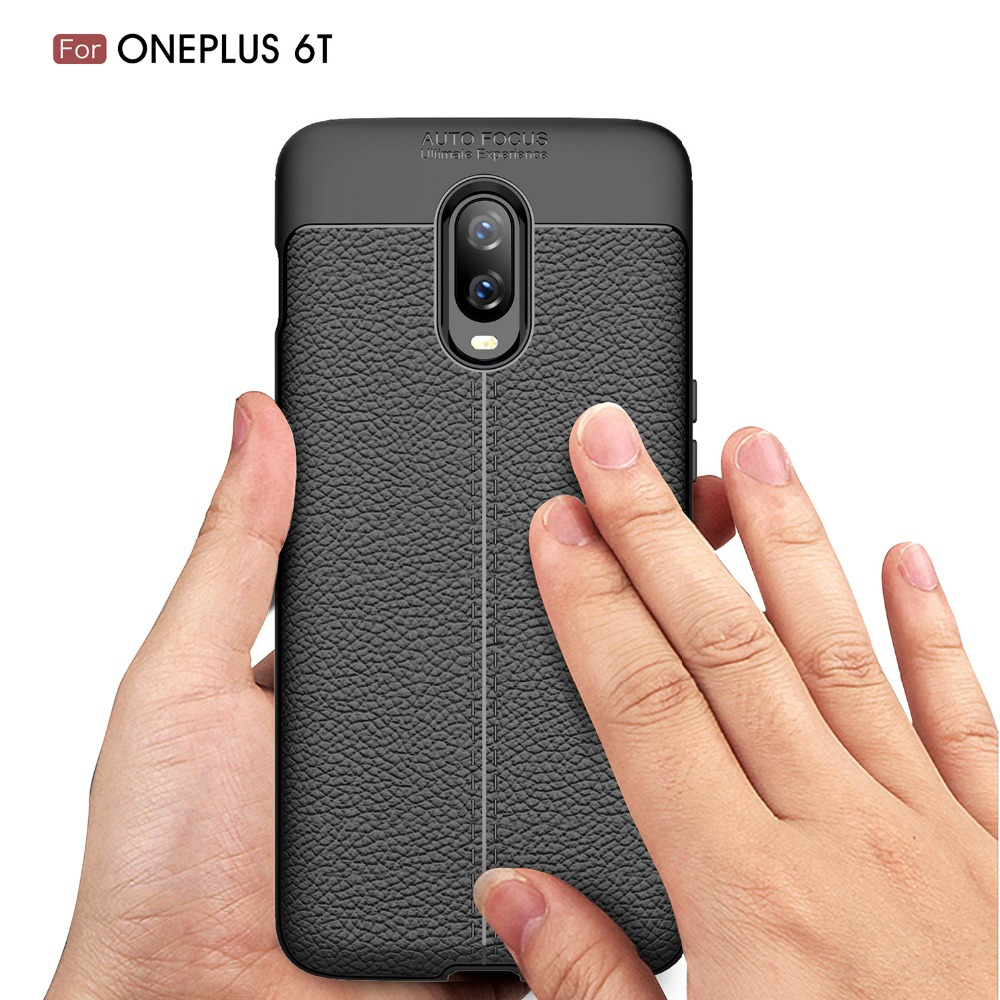 For OnePlus 6T Case Silicone Litchi TPU Rugged Phone Cases