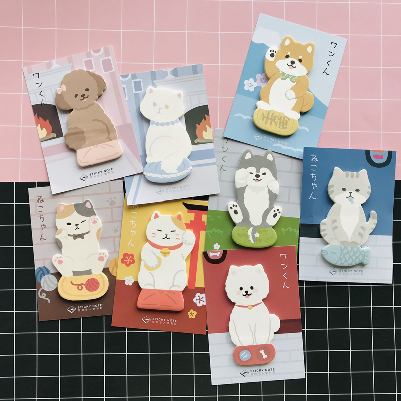 1 Pack Cute Cats Shiba Inu Husky Teddy Memo Pads Marker Message Sticky Notes Decor School Office Supply Student Stationery