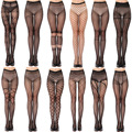 Venta al por mayor 10x moda mujeres Sexy señora Girls patrón negro mallas Jacquard medias panti medias C