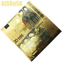10pc 24k Gold Foil Plated 20 50 500 5 10 Euros bill banknotes fake money 100 euros Gold Banknotes Paper Money Wedding Gift