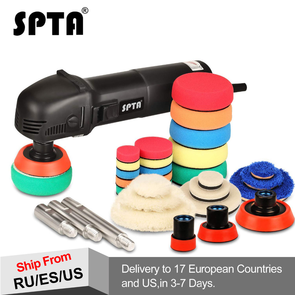 SPTA 780W Mini Polishing Machine Ro Roary Polisher Car Polisher With 27Pcs Polishing Pads and 75mm/100mm/140mm Extension Shaft spta 4 100mm genuine wool buffing ball polishing pad ball hex shank turn power drill or impact driver high speed polisher