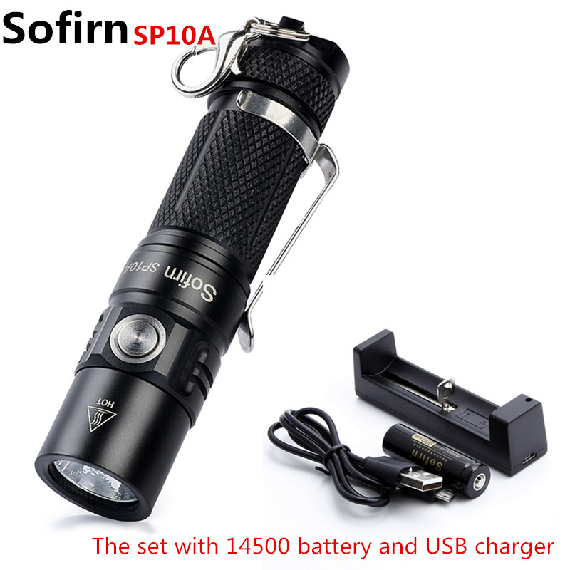 Sofirn SP10A Kit Mini Led Flashlight AA 14500 EDC Pocket Light Cree XP-G2 Portable Keychain Light Penlight with battery charger