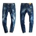 2016 Recién Llegado de Marca Hombres Jeans Rectos Pantalones Casuales Pantalones Vaqueros pantalones Clásicos Masculinos pies Pantalones de Mezclilla Azul Pantalones Vaqueros Rasgados H079