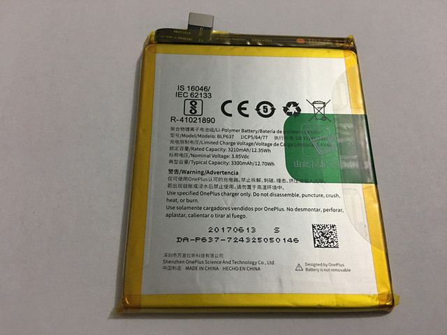 FOR One plus 5 battery 3210mAh Rechargeable Li-ion Built-in mobile phone lithium polymer battery