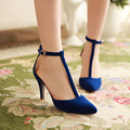 Mature women's pumps fashion T-Strap Solid high thin heels Elegant  Party Pumps Solid Pointed Toe Cover Heel Spring/Autumn shoes