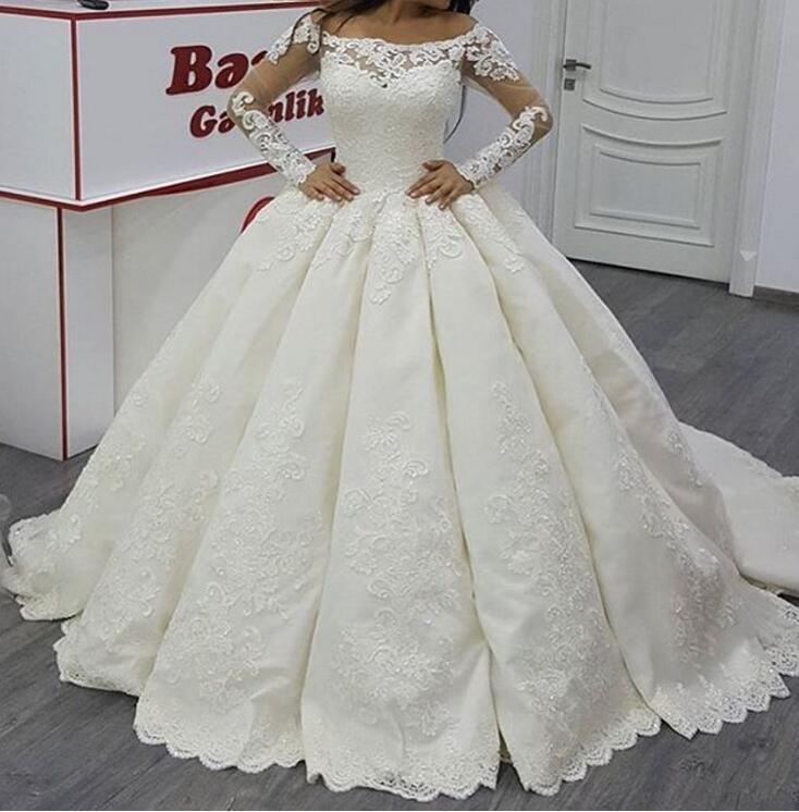 Puffy Vestido De Noiva Muslim Wedding Dresses Ball Gown Long Sleeves Satin Lace Dubai Arabic Wedding Gown Bridal Dresses