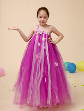 Elegant Tulle purple Little Girls dress Ball Gown kids Girls Pageant Dresses casual TUTU dress with