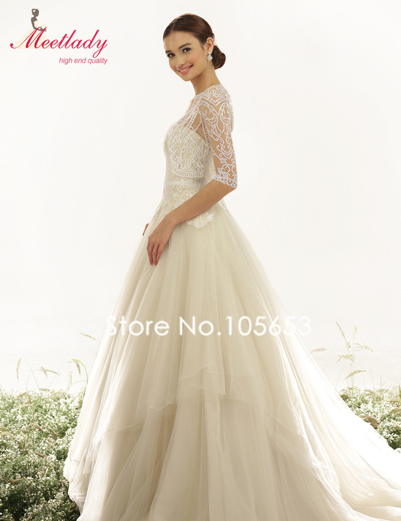 233065b7cb44 Elegant A line Sweetheart Long Sequin Plus Size Wedding Dress With 3/4 Sleeves  Jacket Sexy SeeThrough Applique Wedding Gown W08-in Wedding Dresses from ...