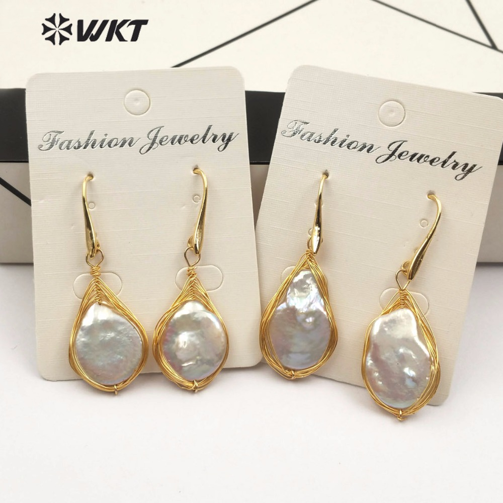 WT E483 New arrival unique design drop shaped earrings natural freshwater pearl earrings with gold copper