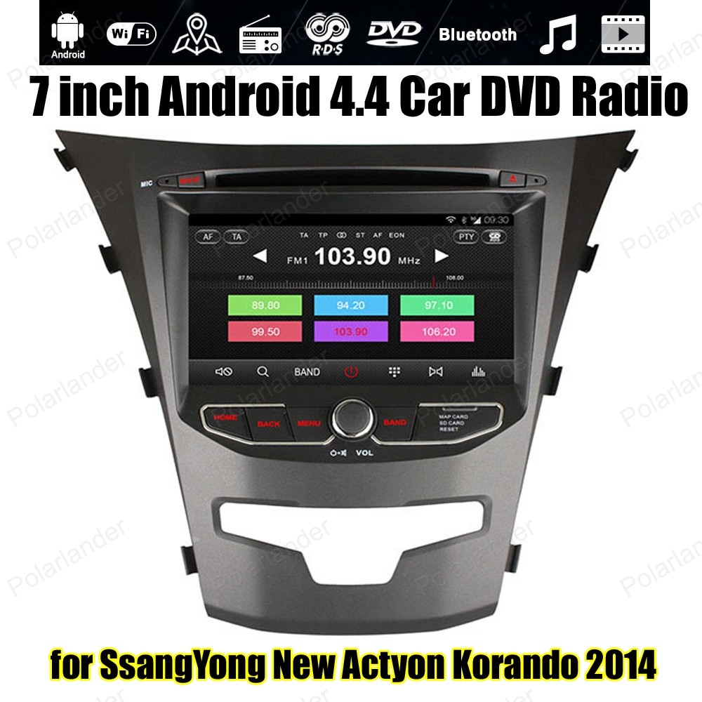 Android4 4 Car CD DVD player For SsangYong New Actyon Korando 2014 Support font b TPMS