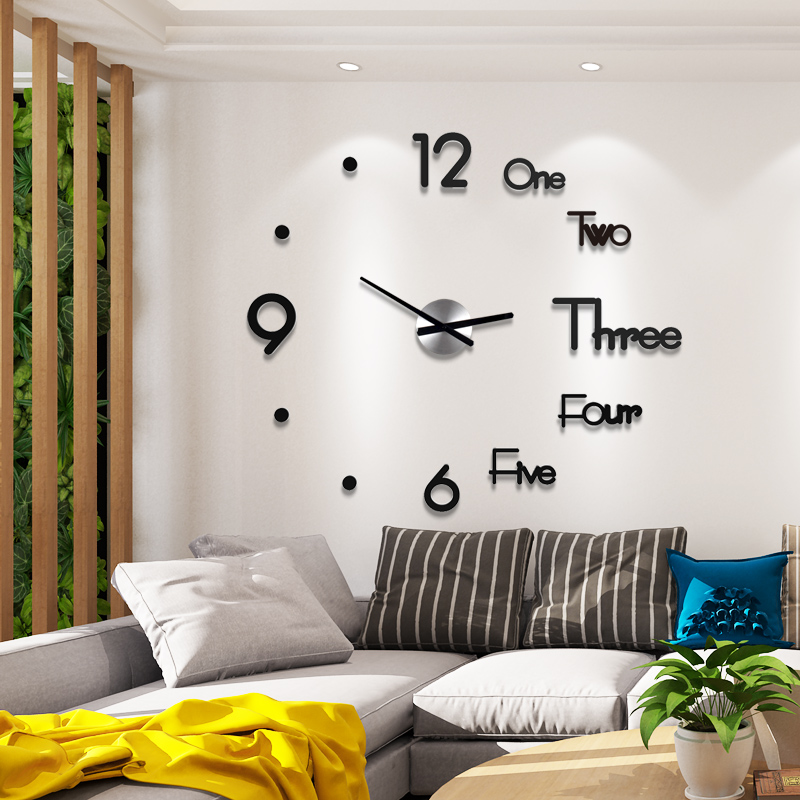Acrylic Large Wall Clock Modern Design 3D Living Room Quartz Wall Sticker Diy Clock Silent Home Decor Horloge Free Shipping(China)