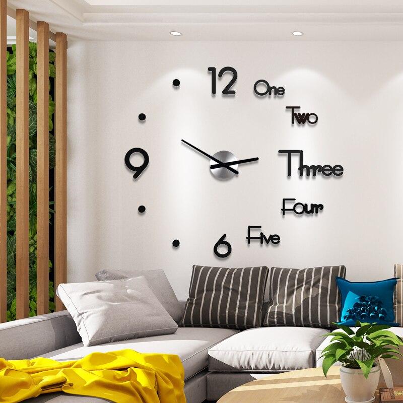 decoración del hogar Acrílico reloj de pared grandede diseño moderno 3D DIY  reloj pared ...