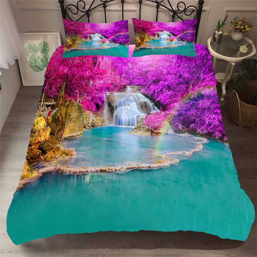 Bedding Set 3D Printed Duvet Cover Bed Set Forest Waterfall Home Textiles For Adults Bedclothes With Pillowcase #SL07