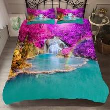 Bettwäsche Set 3D Druckte Duvet Abdeckung Bett Set Wald wasserfall Hause Textilien für Erwachsene Bettwäsche mit Kissenbezug # SL07