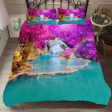 Parure de lit imprimée en 3D, housse de couette, style cascade forestière, literie pour adultes, avec taies doreillers # SL07