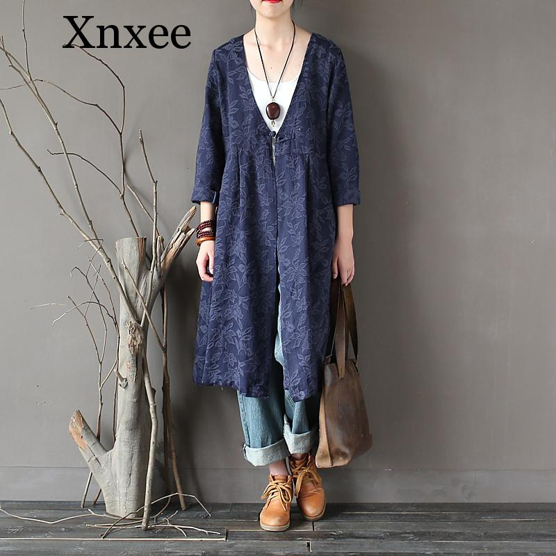 Xnxee Women Jacquard   Trench   Chinese Style 2019 New Button Full Sleeve V-Neck Cardigan Vintage Coats Pockets   Trench