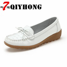 ФОТО plus size 35-41 leather shoes 2018 summer fashion soft bottom bow casual flat shoes pea slip outdoor   shoes woman