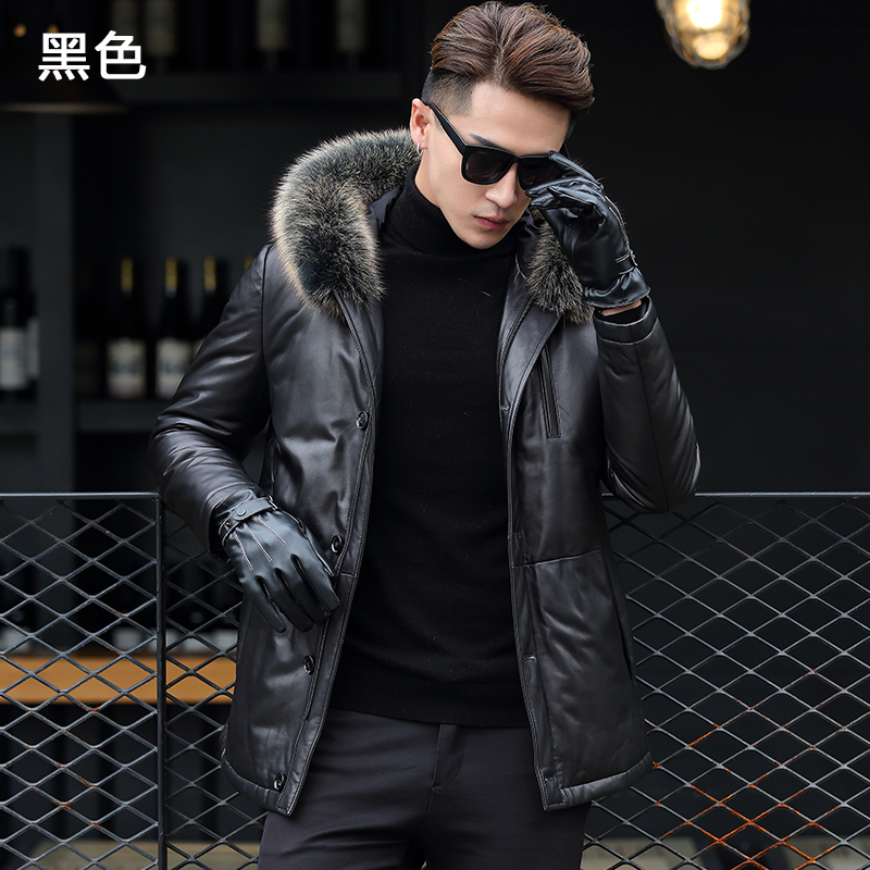 QT1615 Haining Men Leather Down Jacket N7121-P980(China)