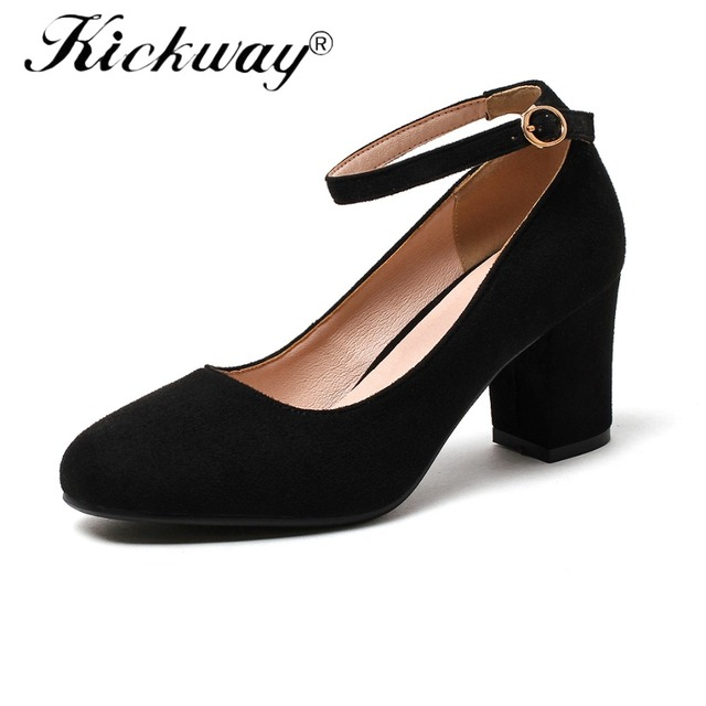 Women Ankle Strap Heels Spring 2019 Shoes Thick High Heels Plus Size 34-44 Classic Buckle Strap Shoes Women chaussures femme