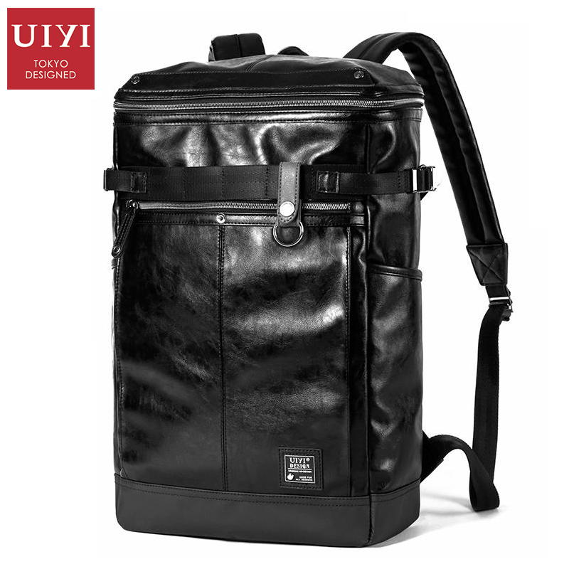 UIYI Black Backpacks Men PU Bag For Teenager Male Laptop Backpack School external Key Chain Holder #UYB6105 men backpack student school bag for teenager boys large capacity trip backpacks laptop backpack for 15 inches mochila masculina