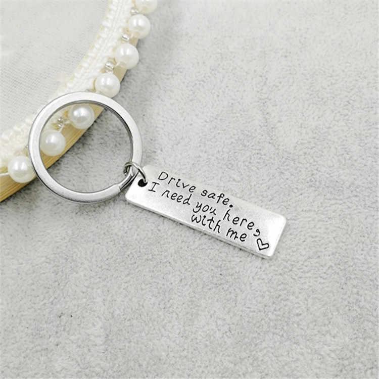 1 ชิ้นพวงกุญแจของขวัญแกะสลักไดรฟ์ปลอดภัย I Need You ที่นี่ Me พวงกุญแจคู่แฟนแฟนเครื่องประดับ Key Chain