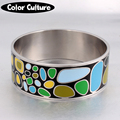25mm Width Big Vintage Bracelet Bangle Elegant Classic Stainless Steel Pattern Enamel Bangles for Women Enamel Jewelry  PCSZ3201