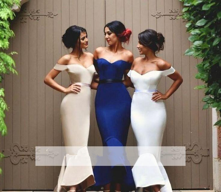 Royal Blue 2019 Cheap Bridesmaid Dresses Under 50 Mermaid V-neck Off The Shoulder Ankle Length Long Wedding Party Dresses