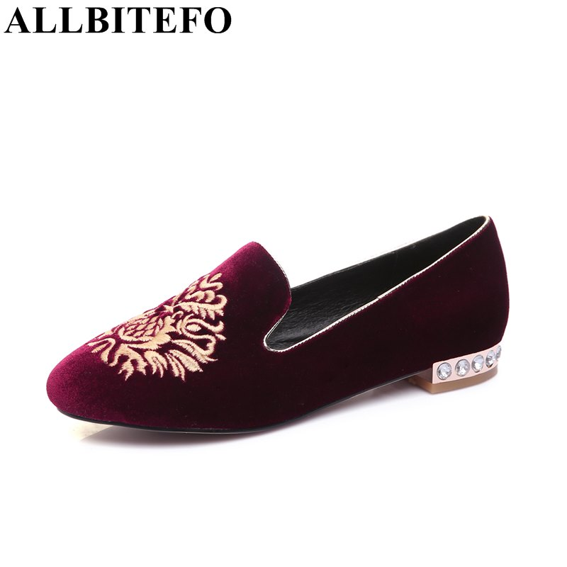 ФОТО ALLBITEFO Rhinestone heel design full genuine leather Embroidery casual shoes woman low-heeled women's shoes spring pumps