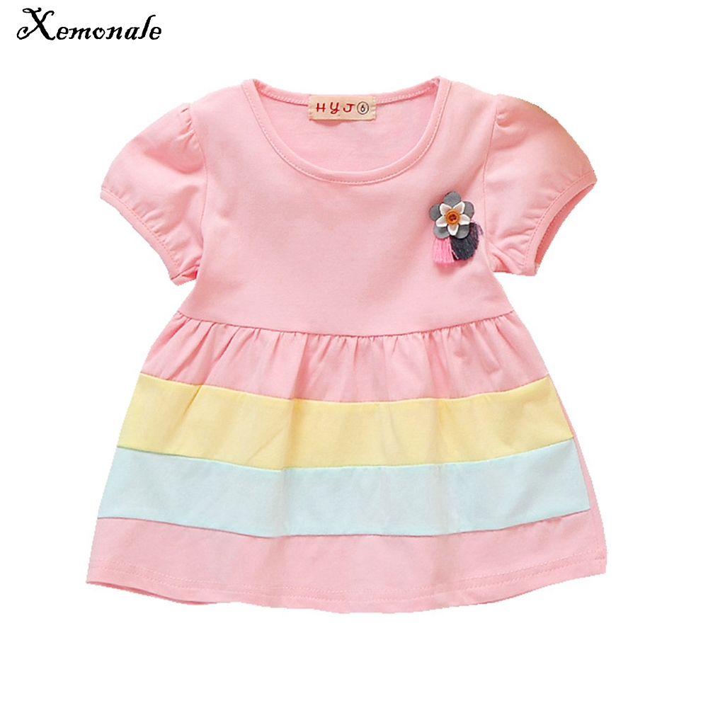 Xemonale Baby Girls Dress 2018 Summer NewBorn Infant Baby 100% Cotton Striped Party Dress Toddler Bebes Girls Princess Clothes