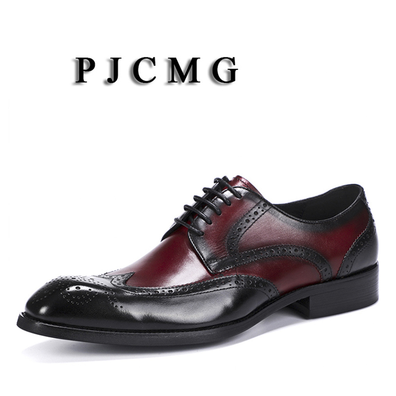 PJCMG New Fashion Comfortable Black/Red Genuine Leather Lace-Up Carved Pointed Toe Flat Man Casual Classic Dress Gentleman ShoesPJCMG New Fashion Comfortable Black/Red Genuine Leather Lace-Up Carved Pointed Toe Flat Man Casual Classic Dress Gentleman Shoes