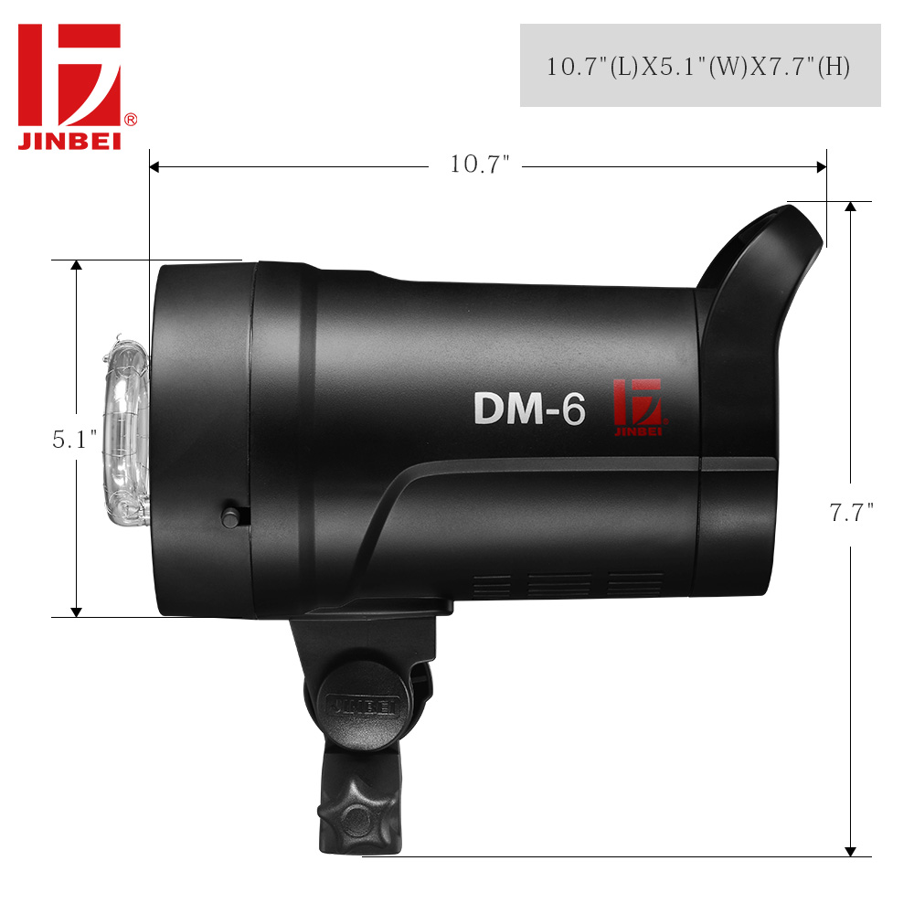 JINBEI DM 6 600Ws Portable Studio Flash Compact Photography Strobe Light GN80 Lighting Head LED Modeling Lamp 110V 220V Wireless in Flashes from Consumer Electronics