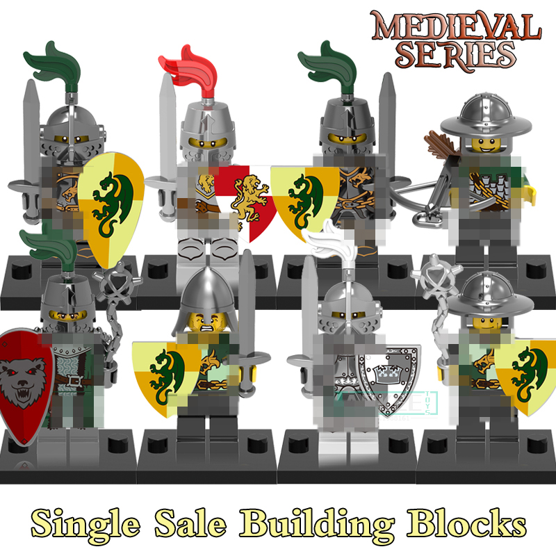 Building Blocks Medieval Knights Gladiatus Dragon Frightening Warrior X0148 Figures Super Heroes Bricks Kids DIY Toys Hobbies 21pcs lot medieval castle knights the lord of the rings mini building blocks brick toys armor the hobbit gladiatus figures