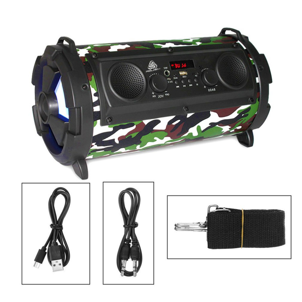 Portable 15W LCD Wireless Bluetooth Speaker FM Transmitter Support TF Card AUX Super Bass Subwoofer Stereo Music Player FreeShip nby18 outdoor mini bluetooth speaker portable wireless speaker music stereo subwoofer loudspeaker fm radio support tf aux usb