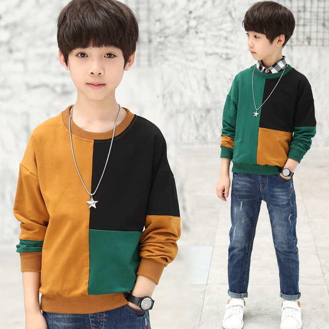 550a2ae7ddd9 Casual Kids Children's Clothing Boy Autumn Checked Knit Sweater T-shirt  patchwork color long sleeve hoodies boys kids tee shirt