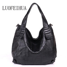 LUOFEIHUA  Leather handbags 2018 autumn and winter new fashion messenger bag Vintage soft leather female shoulder bag vintage ladies handbag 2018 new autumn and winter bag genuine leather roses floral zipper messenger bag fashion handbags