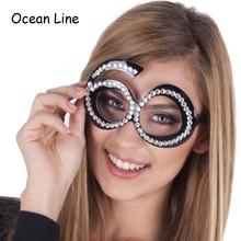 Funny No.60th Crystal Diamond Decorated Glasses Novelty Mask for Birthday Gifts and Party Supplies Decoration