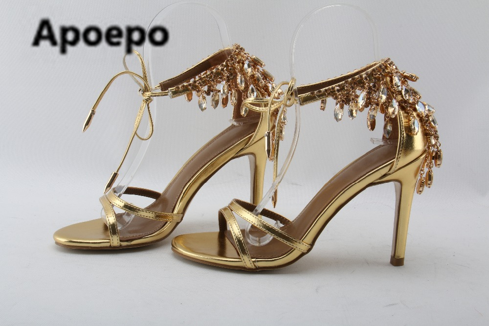 48e921c88f9 sales brand gold Rhinestone party shoes summer sandals female finger ...