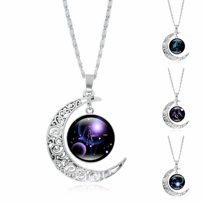 Новый Полумесяц Ожерелье 12 Созвездие Художественного Стекла Кабошон Кулон Ювелирные Изделия Серебряная Цепочка Ожерелье для Женщин Подарки