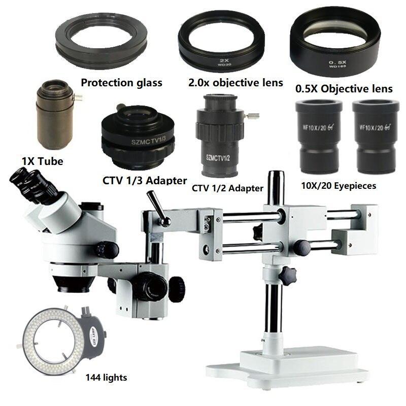Duplo Braço Boom Stand 3.5X-90X Simul-focal Trinocular Stereo Zoom Microscópio + 144 LED Ajustável anel + 0.5X WD165 2.0X WD30 Lente