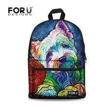 Forudesigns/Новинка 2017 года школьная сумка-рюкзак для подростков девочек школьный Йоркширский печати рюкзаки холст Bagpack женские сумки