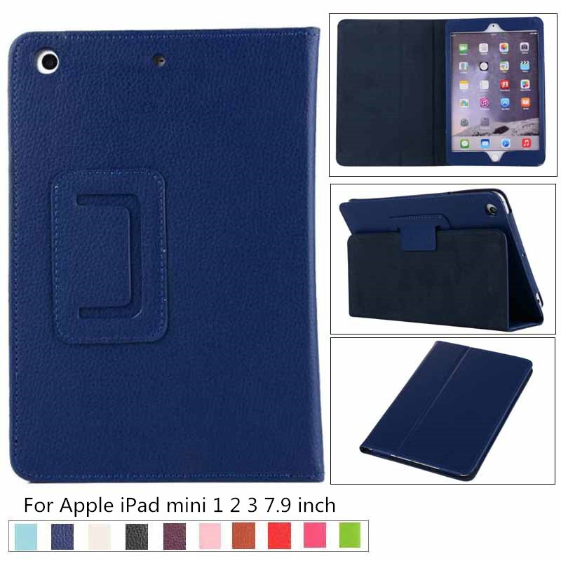 For IPad Mini 1 2 3 Fashion  Business Litchi PU Leather Case For IPad Mini 1 2 3 7.9 Inch Retro Flip Flexible Stand Slim Cover