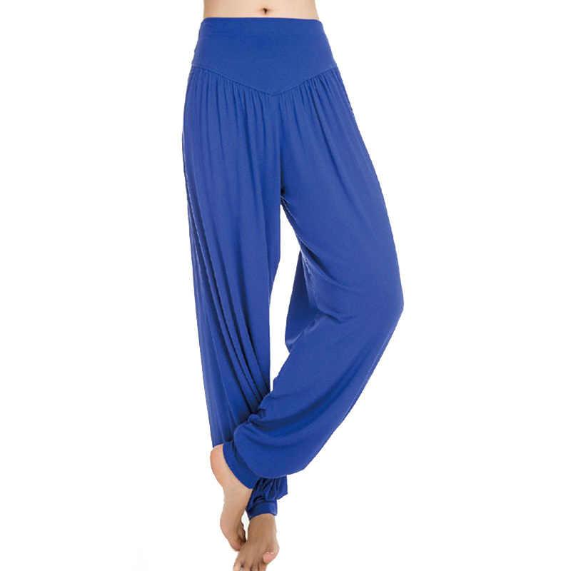 Новинка 2018, женские штаны для йоги, высокая талия, шаровары, мягкие, Модальные, спортивные штаны, свободные, длинные, для танца Тай Чи, шаровары M XXXL, брюки RW023