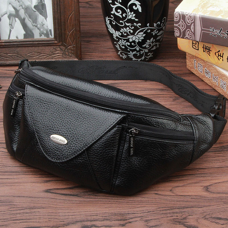 New Men Genuine Leather Fanny Waist Bag Travel Hip Belt Cell Phone Case Purse Single Back Pack Real Cowhide Sling Chest Day Pack ...