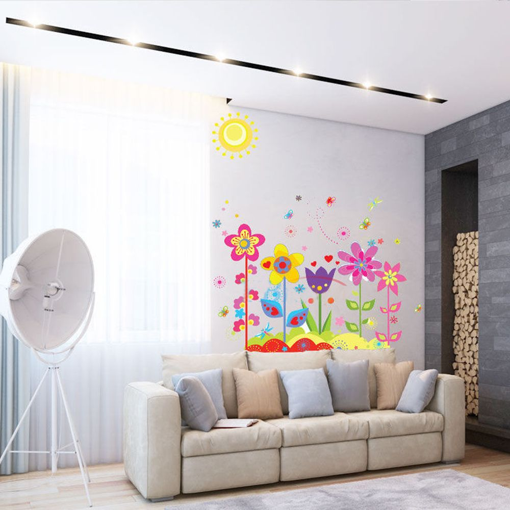 Flower Butterfly Wall Stickers Kids Girls Bedroom Wall Decals Removable Decal Poster Nursery Art Mural Home DIY Decoration in Wall Stickers from Home Garden